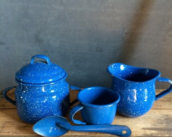 Vintage Blue Enamelware Cream And Sugar Set