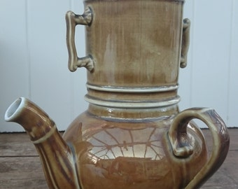 Vintage French Pillivuyt 4 Piece Brown Lustre Teapot with Infuser