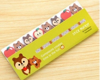 Squirrel & Apple Sticky Notes - Cute Kawaii Post-It Notes / Cute Stationery / Kawaii Stationary / Cute School Supplies / Memo Pad / Tabs