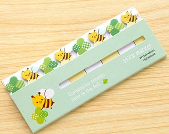 Bumble Bee & Clover Sticky Notes - Cute Kawaii Post-It Notes / Cute Stationery / Kawaii Stationary / Cute School Supplies / Memo Pad / Tabs