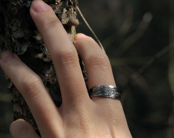 leaf ring - silver - nature - organic