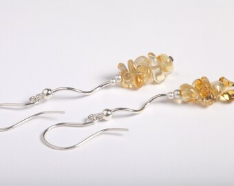Golden Citrine and Silver Earrings, Yellow Citrine, Dangle Earrings, Yellow Earrings, Citrine and Sterling Silver, Citrine Earrings