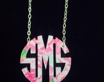 Acrylic Monogram Necklace -