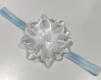 Medium sized, white, blue, and lace ribbon headband. Shabby chic. Girly.