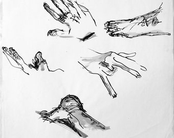 Vintage ink drawing/study of hands and feet
