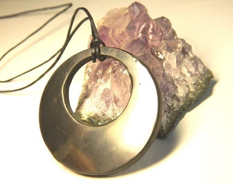Shungite Pendant Double Circle. Magic stone EMF protection from Karelia