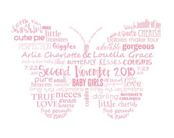 Twin Baby Girls, Birth Announcement, Butterfly, Custom, Printable, Typography Poster