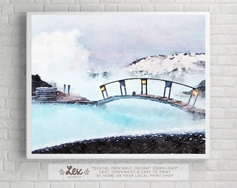 Iceland, Blue Lagoon - Aquarelle Watercolor Painting Digital Wall Art Instant Download