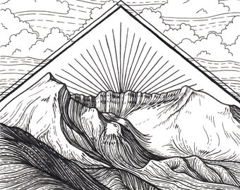 Mt St Helens 5x5 Print - Mountain Art Giclee Print - Pen and Ink Washington Illustration