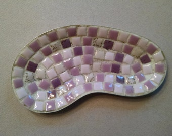 Mid Century Mosaic Kidney Shaped Dish/Tray