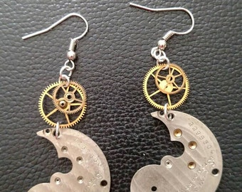 Steampunk whale earrings vintage watch parts