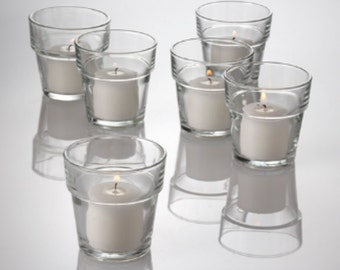 Set of 144 Votive Flower Pot Style Candle Holders & White Candles, Clear Glass Candle Holder,  Bulk set Candle Holders, Flower pot candles