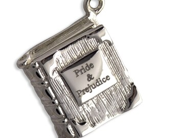 Book Charm Locket / Pendant - Solid 925 Silver - Pride & Prejudice - Jane Austen - Mr. Darcy Proposal, Romantic, Book Lover Gift