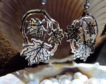 Handcrafted Copper Maple Leaf Dangle earrings