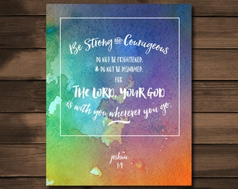 Joshua 1:9 Scripture Art Print