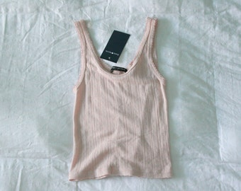 brandy melville pink tank top nwt with floral details