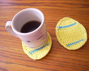 Spring Decor, Easter Egg Coasters, Crochet Cotton Coasters, Easter Cotton Coasters, Pastel Spring Decor, Yellow Cotton Coasters, Yellow Egg