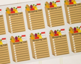 Grocery Bag Shopping List  Planner Stickers - 10 Count