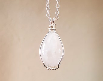 White Moonstone Necklace - Sterling Silver