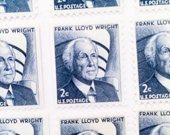 10 x 2 cents Frank Lloyd Wright Blue UNUsed 1966 Vintage US Postage Stamps - for mailing, postcrossing, invites and collage