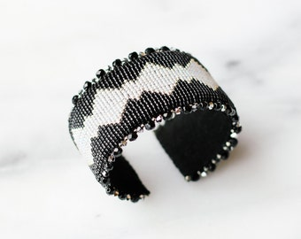 Black, Silver, and Grey beaded cuff bracelet, handmade