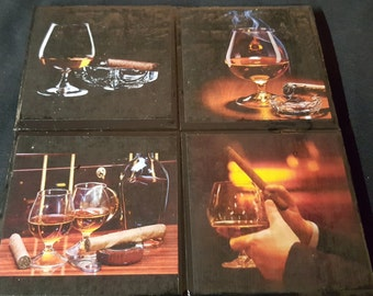 Cigars & Cognac Ceramic Tile Drink Coasters #1  / Set of 4 / Cigars Drink Coaster Set / Cognac Drink Coasters