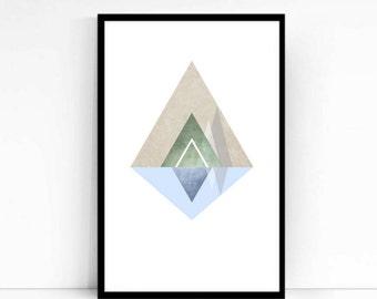 Mountain, Abstract, Poster Print, Minimalist, Blue, Green, Mountain Scene, Refelective Water, Modern Art Print, Geometric Print, Art, Lake