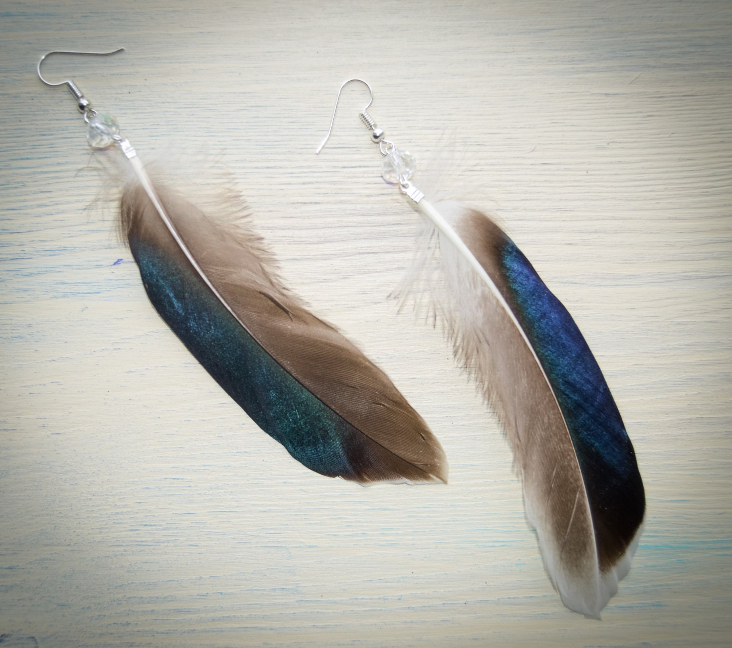 Feather Jewelry: Real Feather Earrings / Feather Earrings / Long Earrings With
