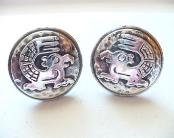 Vintage Sterling Silver Peruvian Inca Figural Cuff Links