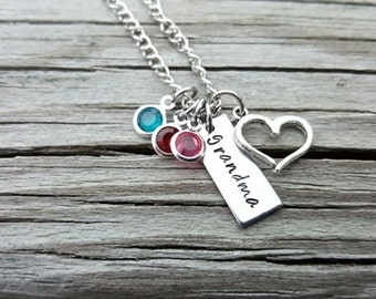 Hand Stamped Necklace - Birthstone Necklace - Grandma Necklace - Grandmother Necklace