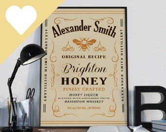 Jack Daniel's Tennessee Honey Whisky (Style) - Personalised Name Poster