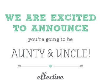 Printable, customisable Pregnancy announcement