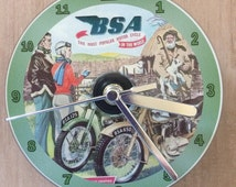 Classic BSA Motorcycle, Vintage Advertisement, CD Clock (Can be personalised)