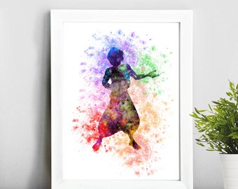 Aladdin watercolor poster, Watercolor Print  Print Children's Wall Art Home Decor Wall Hanging