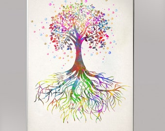 Tree and root Watercolor Print  Print Children's Wall Art Home Decor Wall Hanging