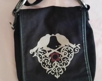 Kenneth Cole Reaction Black Cotton Vintage Cross Body/Shoulder Boho/Hippie Bag