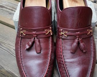 Vintage Florsheim Imperial Horseshoe Bit Tassel Cordovan Slip On Loafers Size 11 D