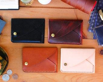 handmade leather wallet mens slim minimal design horween bifold fold front pocket carry handsome dapper gentleman money snap new vegtan tan