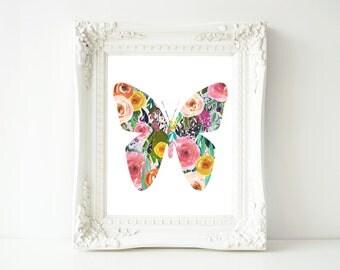 Printable Wall Art, Butterfly printable art, Baby Girl Nursery decor, Nursery art, Baby Girl Butterfly Nursery Print, love quote