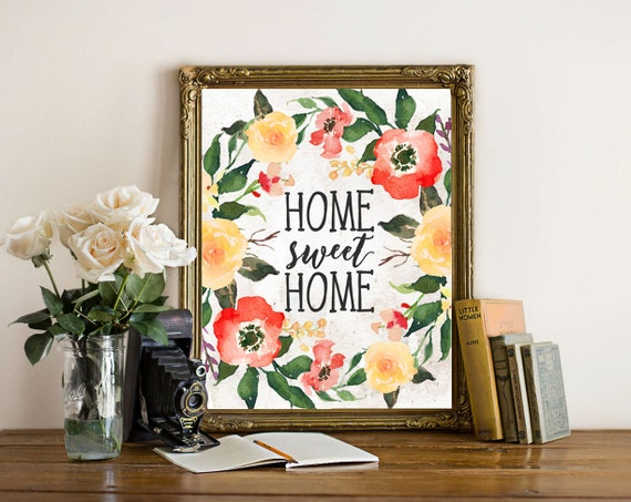 Printable wall art home sweet home printable art orange Home sweet home wall decor
