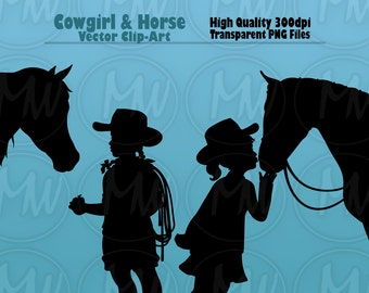 Cowgirl Silhouettes, Horse Clipart, Vector, Art, Silhouette, Horse, Girl, Cowgirl, Clip Art, Cards, Instant Download, Digital Stamp, #124