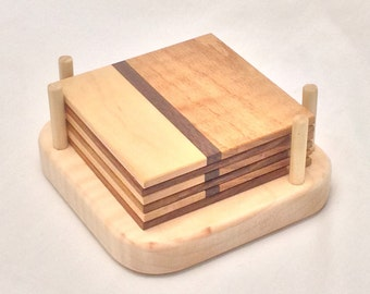 Wooden Coaster Set with Holder (6 coasters)