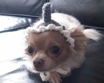 Crochet shark fin dog headpiece