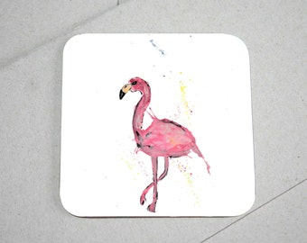 Flamingo coaster, flamingo gift, table coaster, drink coaster, wooden coaster, coaster, flamingo, home decor