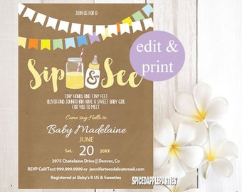 Sip and See Shower Invitation | Sip n See, Sip n See Invite, Sip n See Shower, Printable Invitation, Baby Shower Invitation