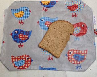 Reusable sandwich bag and placemat-birds/wrap/sandwich lunch sac