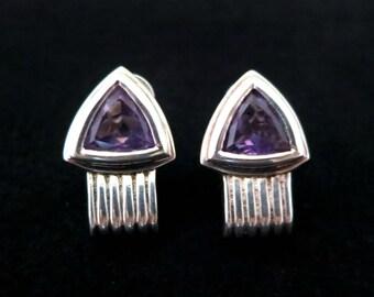 Vintage Purple Faceted Triangular Bezel Set Amethyst in Silver Tone Metal Pierced Earrings Marked Thailand