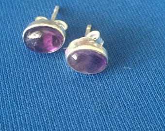 Amethyst stud earrings sterling silver .925