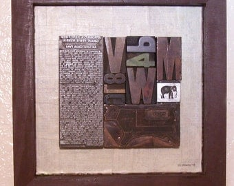 Vintage Type Collage/Assemblage Wall Art