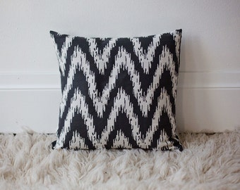 16x16 Charcoal & White throw pillow cover